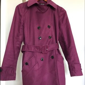 Willi Smith plum trench coat jacket size 8 pretty